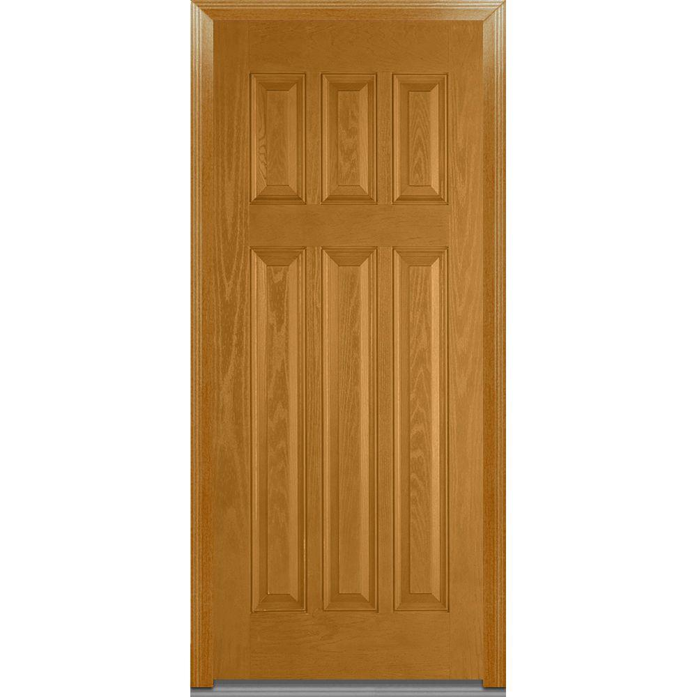Mmi Door 36 In X 80 In Severe Weather Left Hand Outswing Craftsman 6 Panel Classic Stained