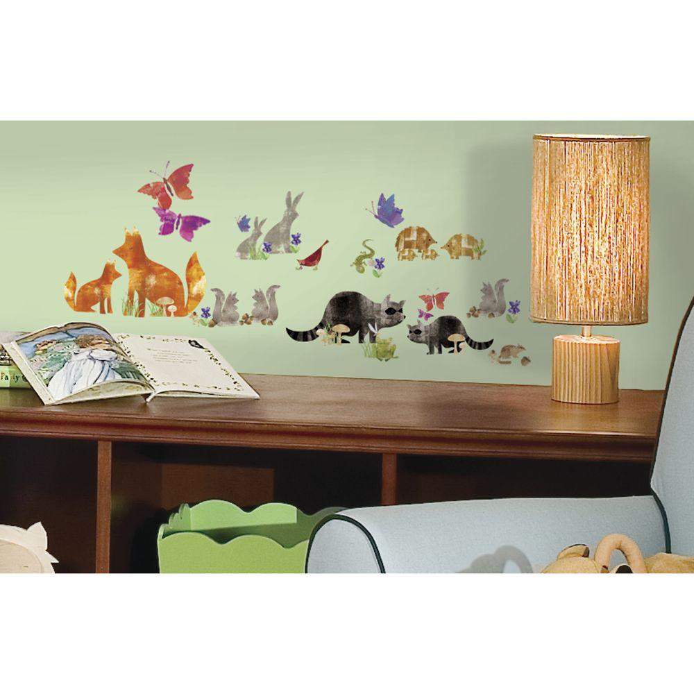5 in. x 11.5 in. Woodland Friends Peel and Stick Wall Decal, Multi