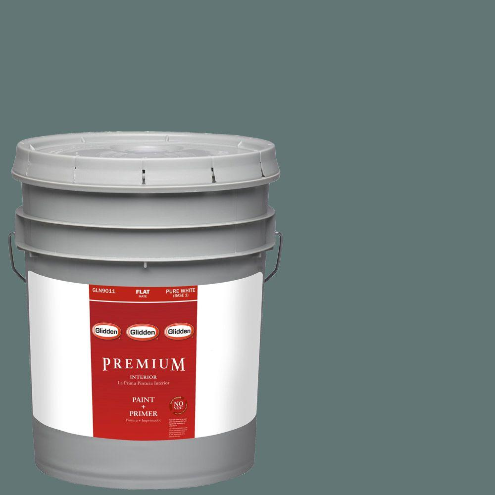 Glidden Premium 5-gal. #HDGCN21D Dark Teal Woods Flat Latex Interior Paint with Primer