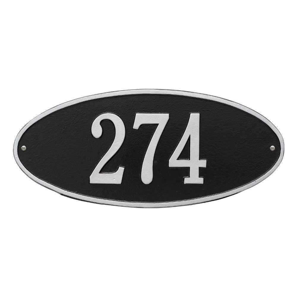 Whitehall Products Madison Standard Oval Black/Silver Wall 1-Line Address Plaque