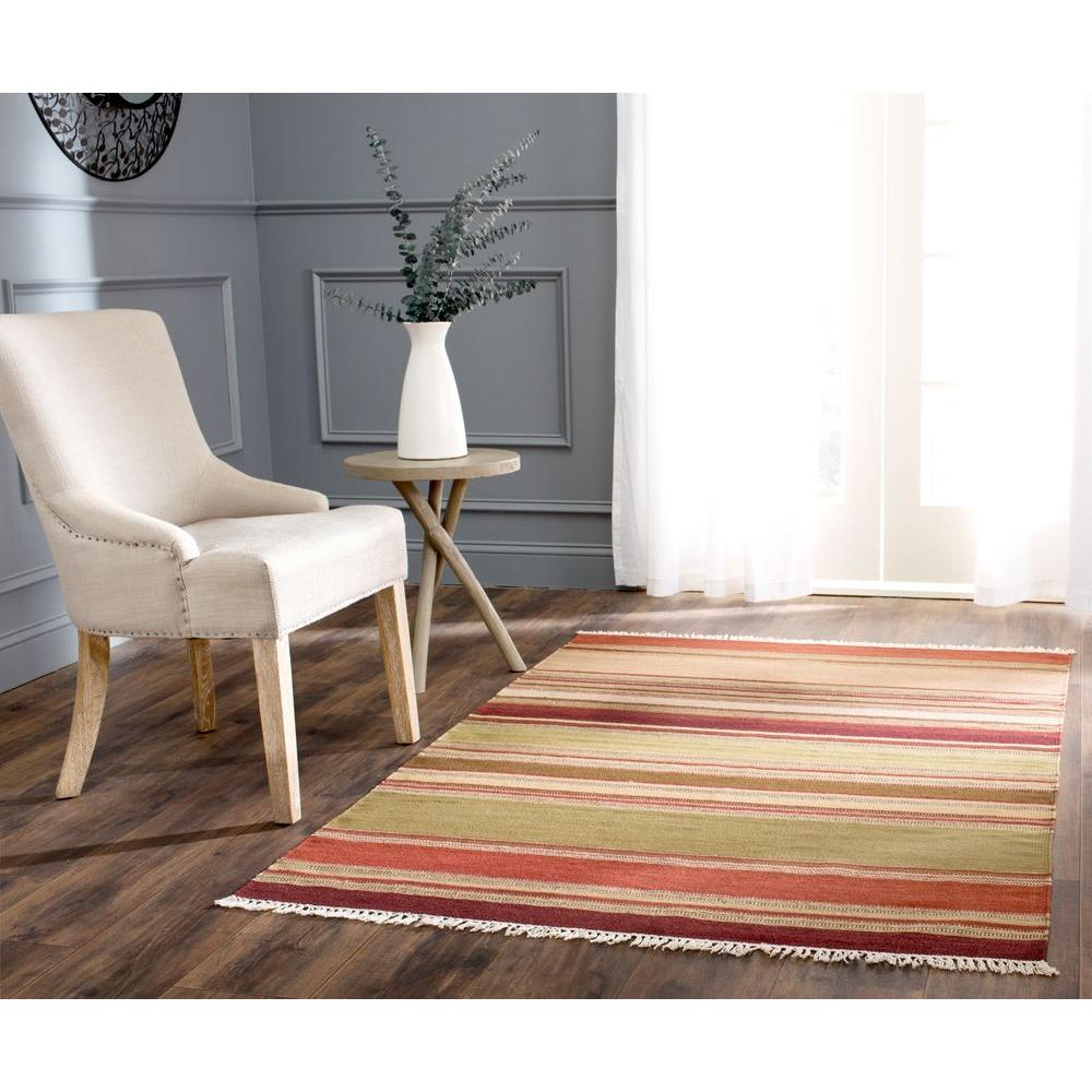 Safavieh Striped Kilim Red 5 ft. x 8 ft. Area Rug-STK313A-5