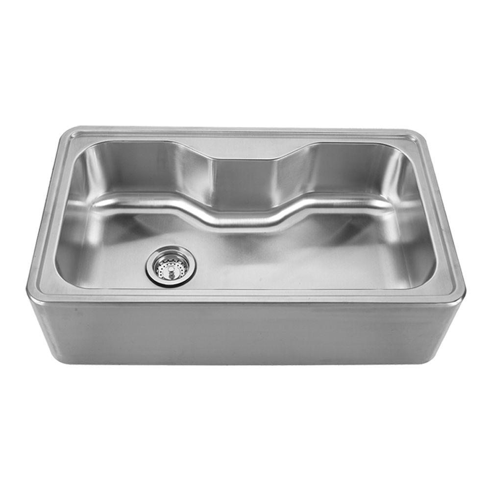 Whitehaus Collection Noah's Collection Front Apron Brushed Stainless Steel 33-1/2 in. 0-Hole Single Basin Kitchen Sink