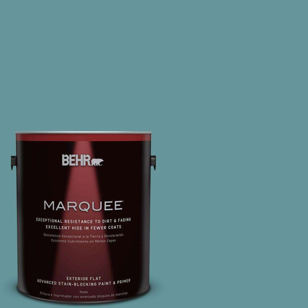 BEHR MARQUEE 1-gal. #MQ6-33 Vintage Teal Flat Exterior Paint-445401 - The