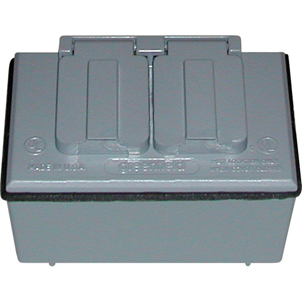 Greenfield 1/2 in. Weatherproof Duplex Outlet Kit - Gray-KDHBPU - The