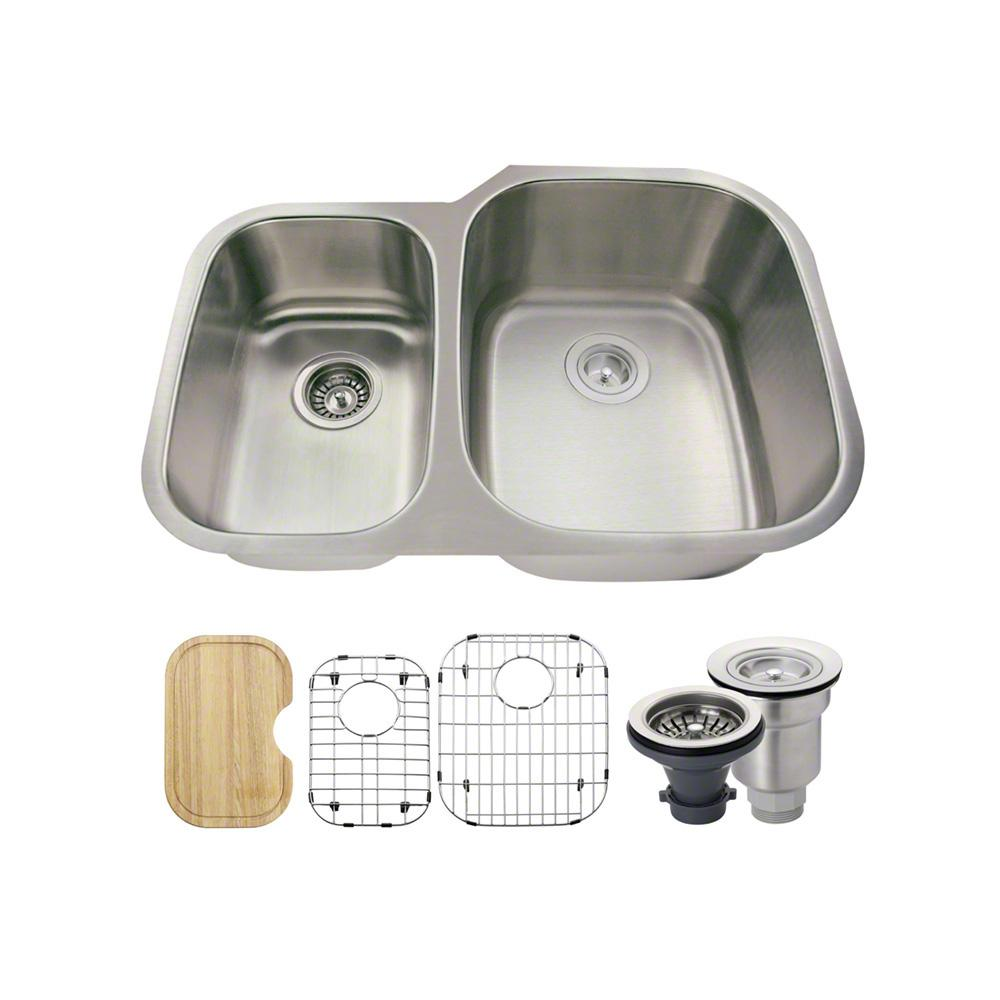 All-in-One Undermount Stainless Steel 29 in. Right Double Basin Kitchen Sink