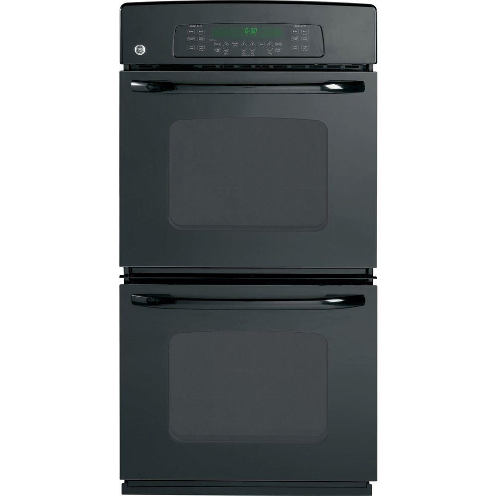 GE 27 in. Double Electric Wall Oven Self-Cleaning in Black