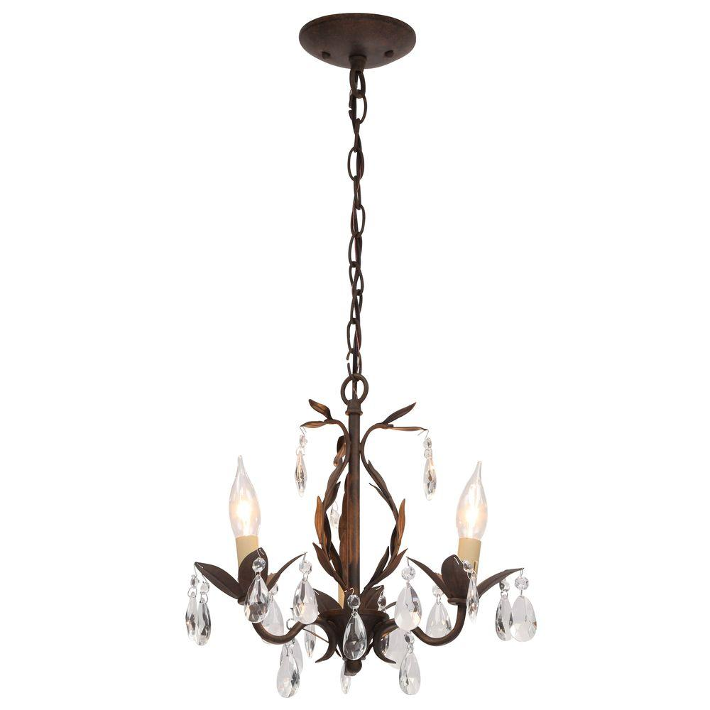 World Imports Bijoux Collection 3-Light Semi-Flush Weathered Bronze Convertible Chandelier