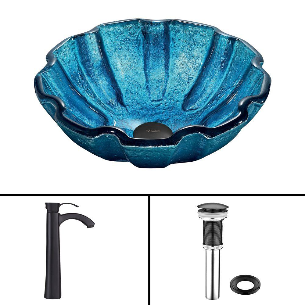 Glass Vessel Sink in Mediterranean Seashell and Otis Faucet Set in