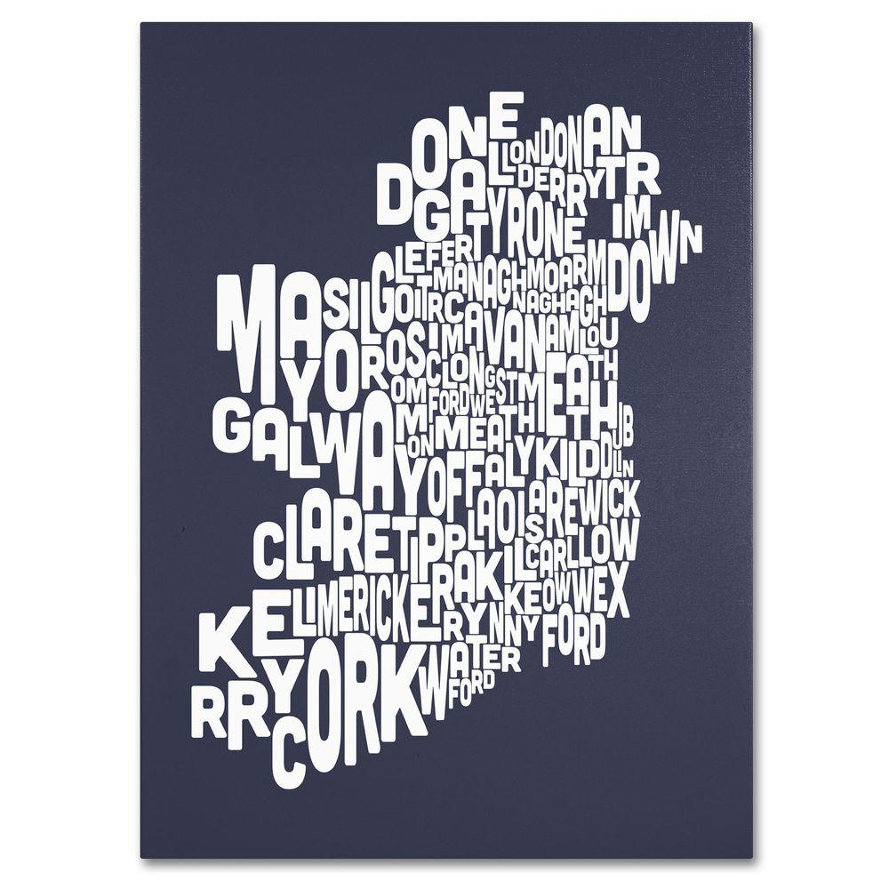 14 in. x 19 in. Ireland Text Map - Slate Canvas