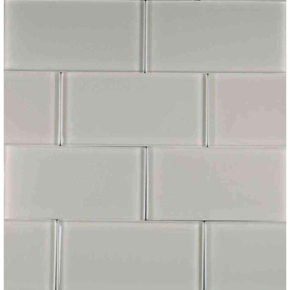 Epoch Architectural Surfaces Cloudz Stratocumulus-1433 Glass Subway Tile - 3 in. x 6 in. Tile Sample-DISCONTINUED