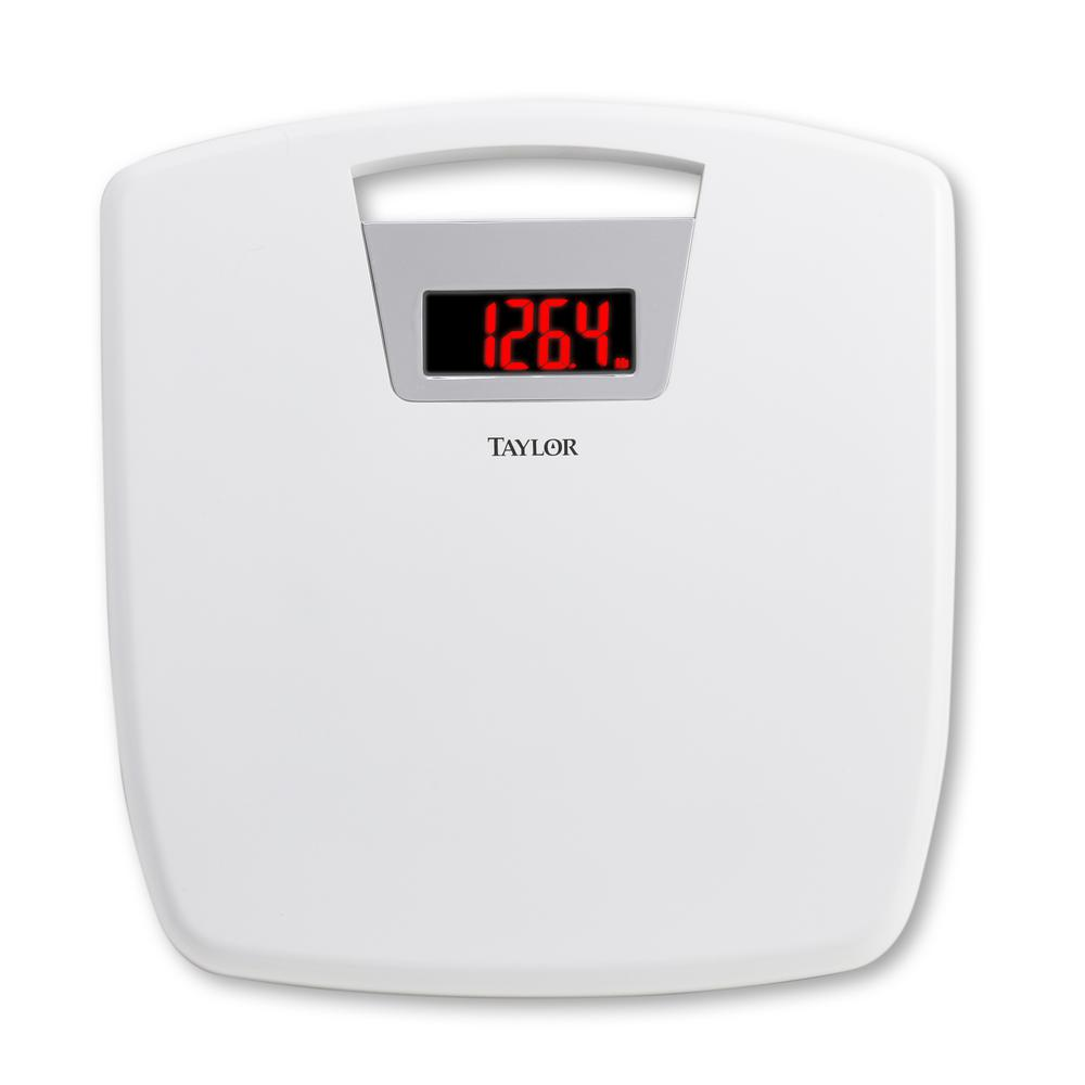Digital Bath Scale with Handle in White