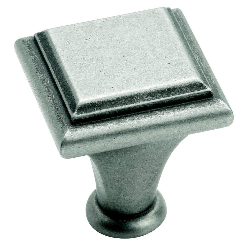 Manor 1 in. Weathered Nickel Square Cabinet Knob