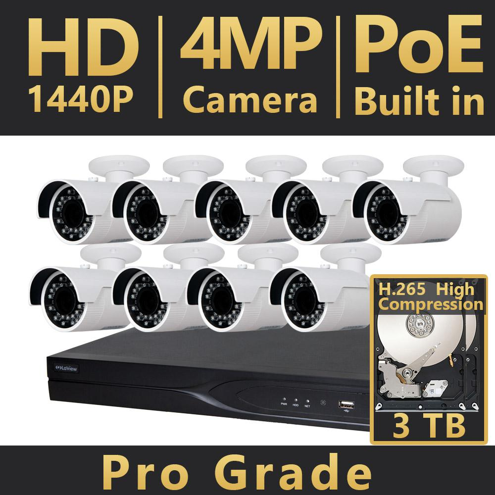 16-Channel HD 4MP IP Indoor/Outdoor Surveillance 3TB NVR 4K Output System