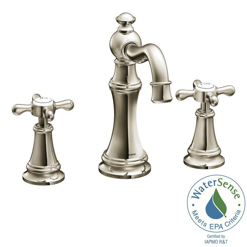 MOEN Weymouth 8 in. Widespread 2-Handle High-Arc Bathroom Faucet Trim Kit in Nickel (Valve Not Included)