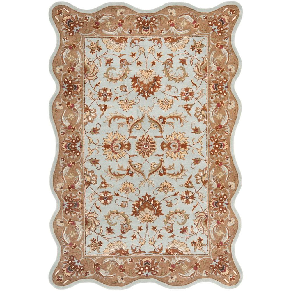 Safavieh Heritage Blue/Beige 6 ft. x 9 ft. Scalloped Area Rug-HG822A-6S