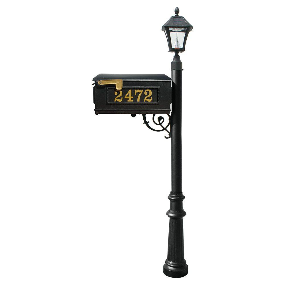 QualArc Lewiston Mailbox Collection with Bayview Solar Lamp and Decorative Fluted Base in Black
