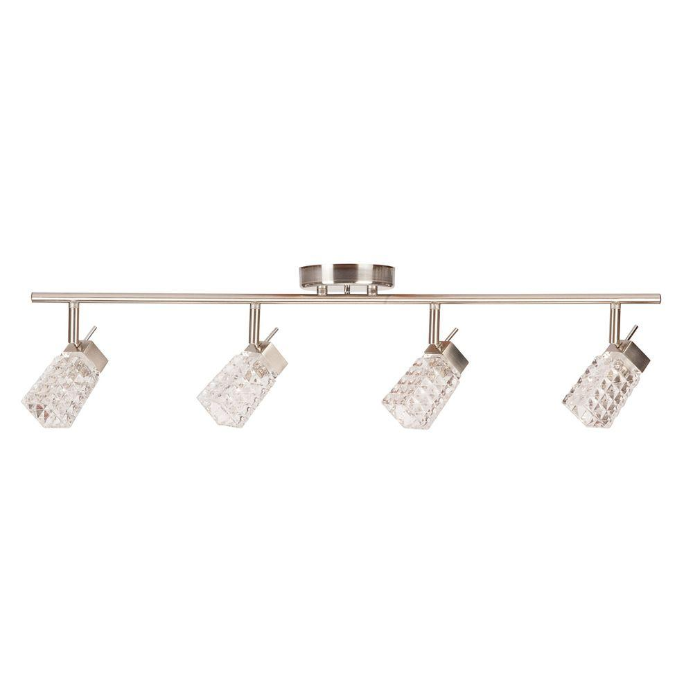 Globe Electric Lux Collection 4 Lamp Brushed Steel Track Lighting Fixture