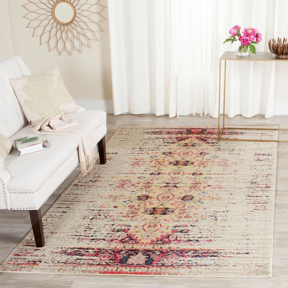 Monaco Ivory/Pink 4 ft. x 5 ft. 7 in. Area Rug