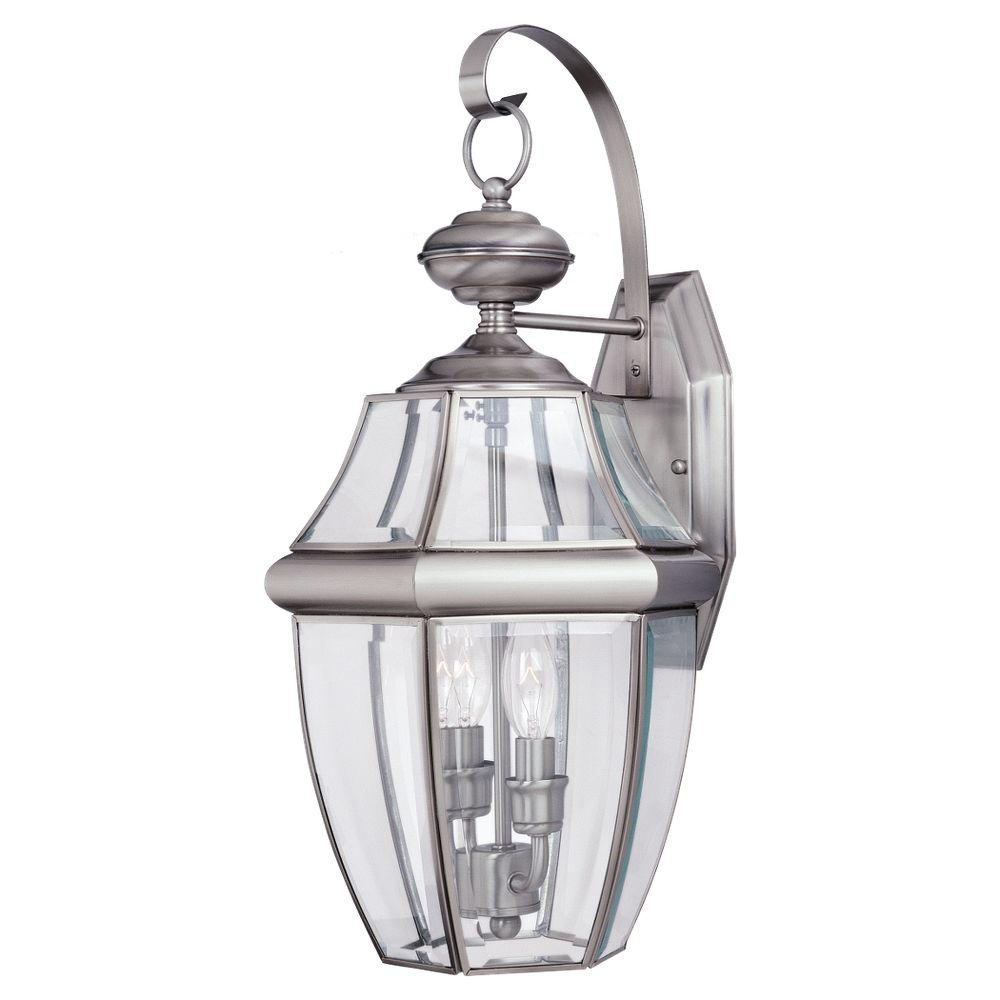Sea Gull Lighting Lancaster 2-Light Antique Brushed Nickel Outdoor Wall Fixture