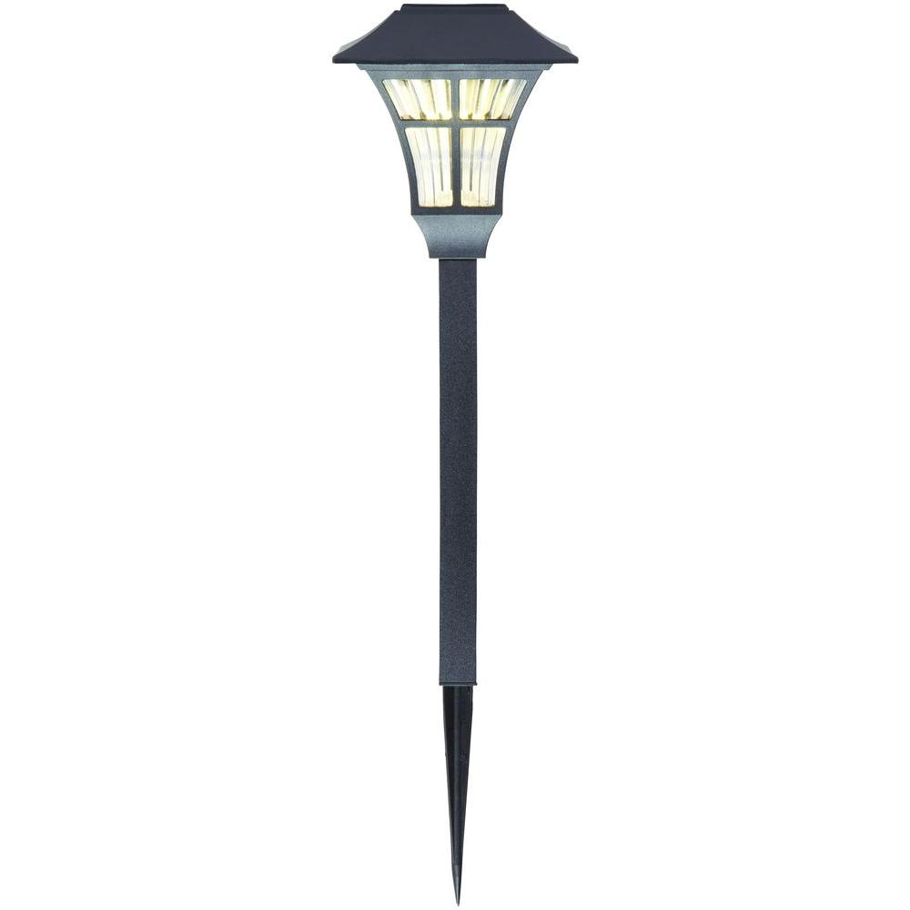 Hampton Bay Yard Light Timer: Black Solar LED Square Pathway Outdoor