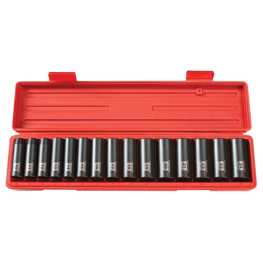 1/2 in. Drive 10-24 mm 6-Point Deep Impact Socket Set