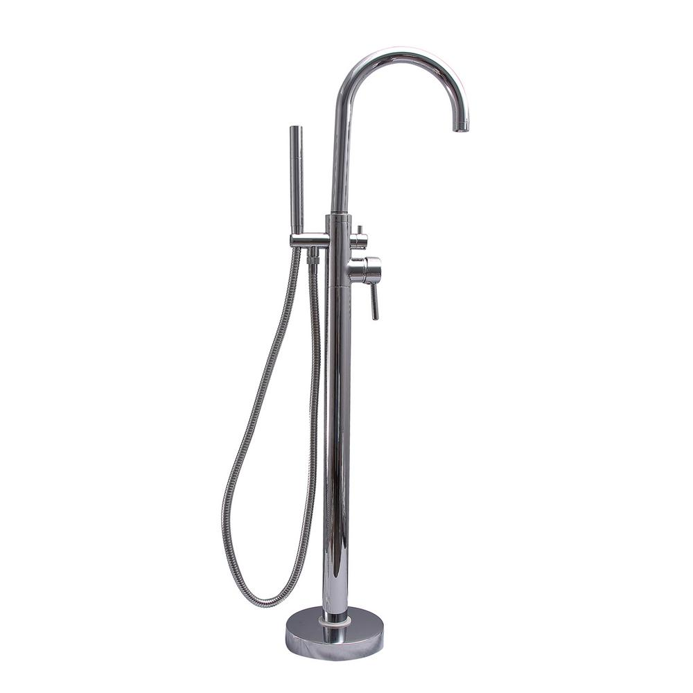 2-Handle Thermostatic Freestanding Claw Foot Tub Faucet with Hand Shower in