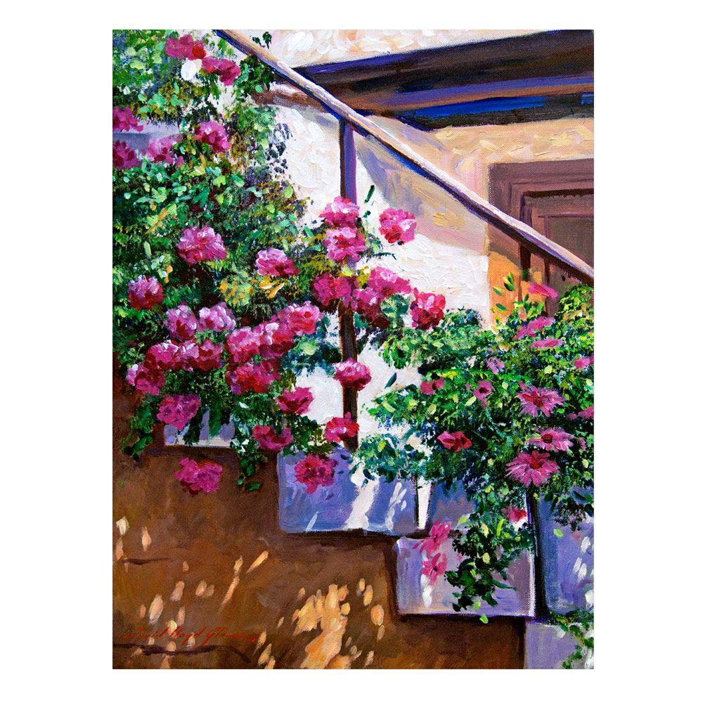 26 in. x 32 in. Stairway Floral Canvas Art-DLG0202-C2632GG - The