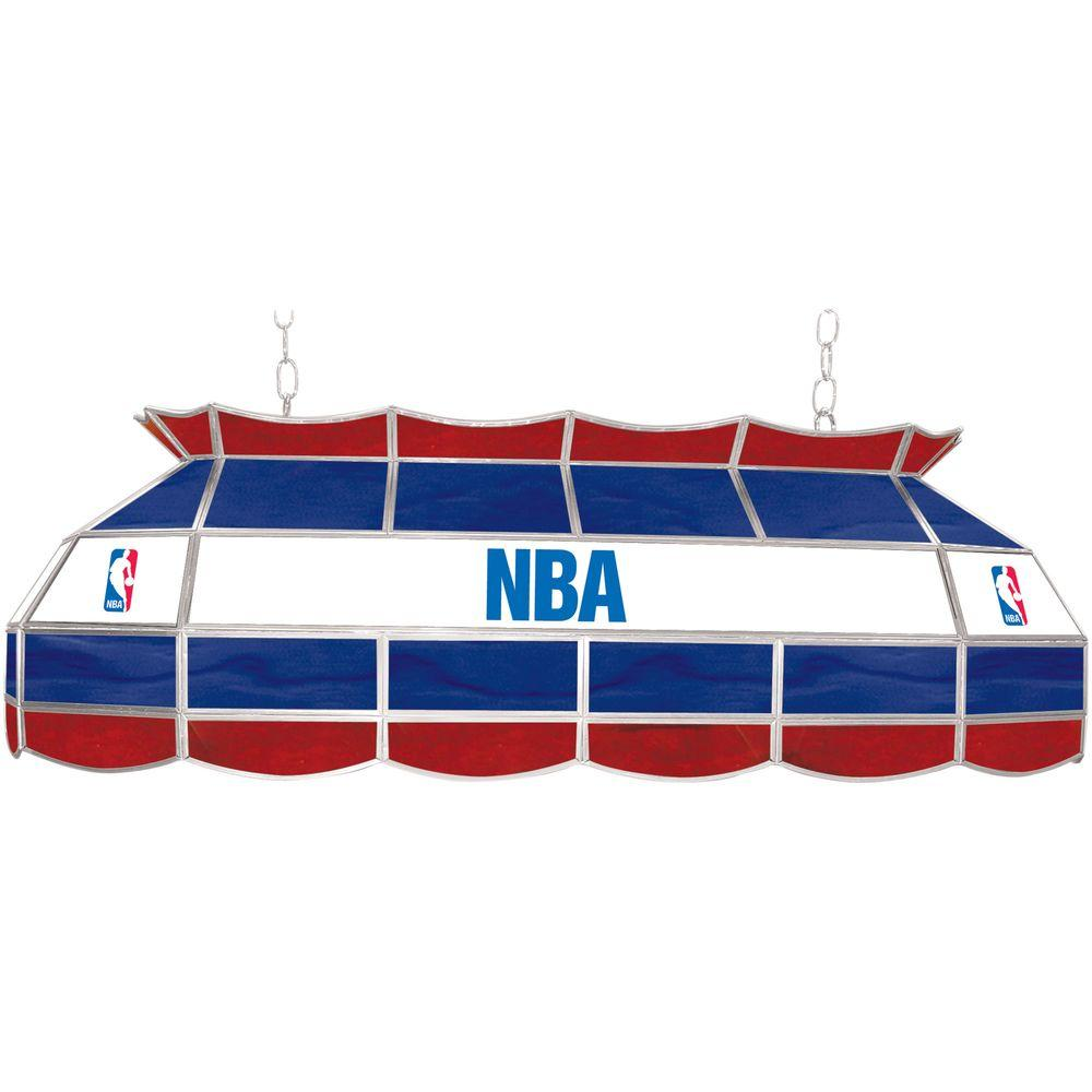 null NBA Logo 3-Light Stained Glass Hanging Tiffany Lamp