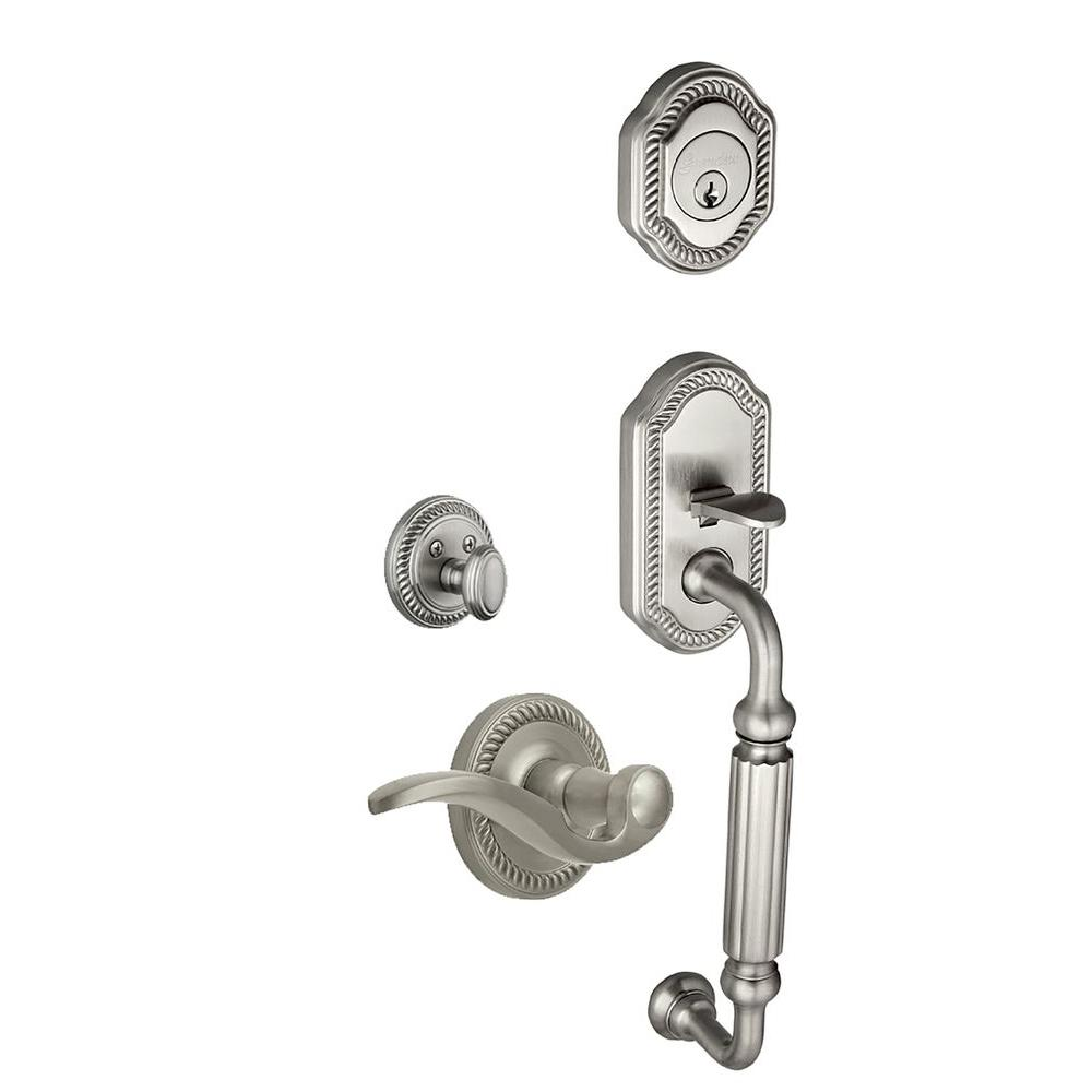 Newport Single Cylinder Satin Nickel F-Grip Handleset with Right Handed Bellagio