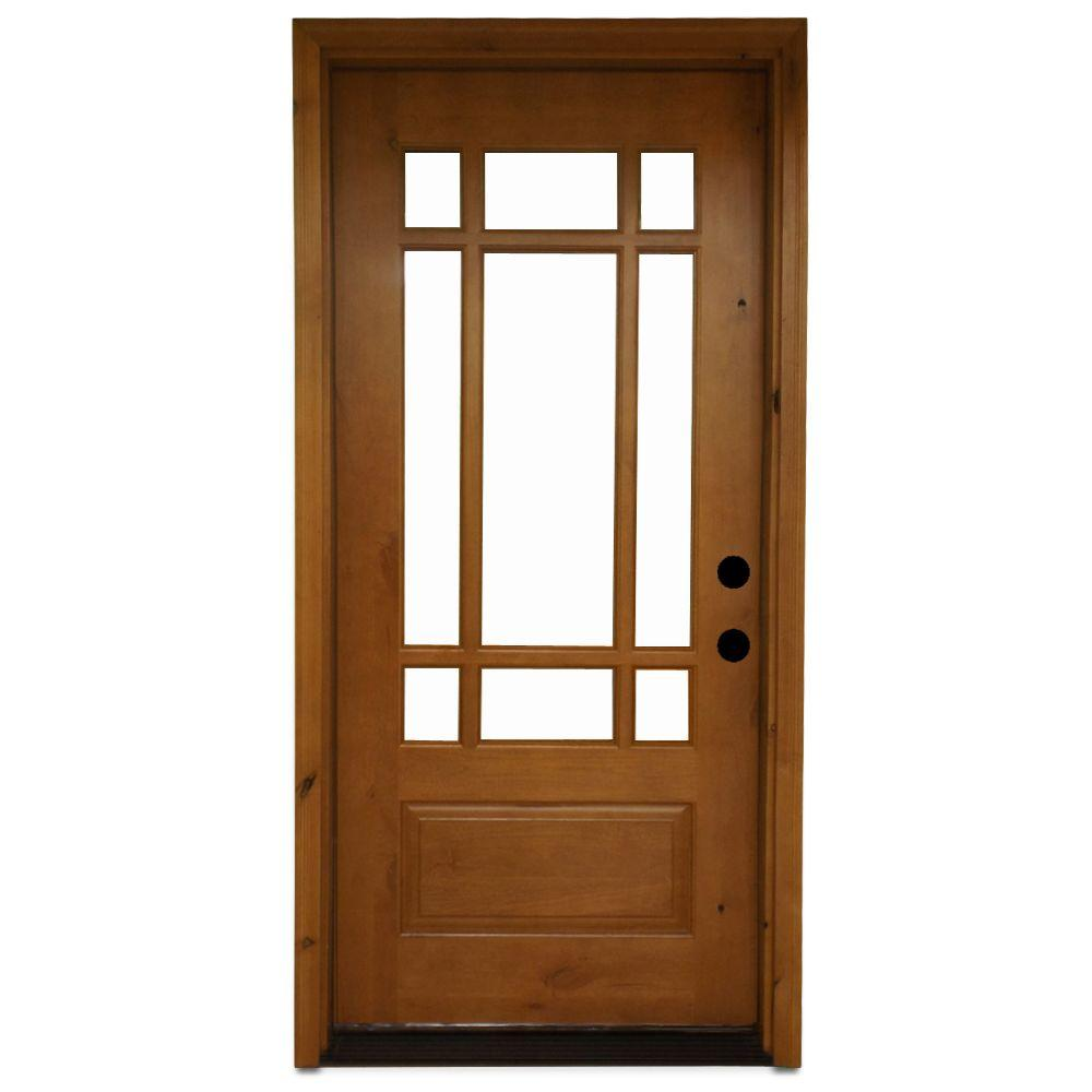 Steves & Sons 36 in. x 80 in. Craftsman 9 Lite Stained Knotty Alder Wood Prehung Front Door, Wheat