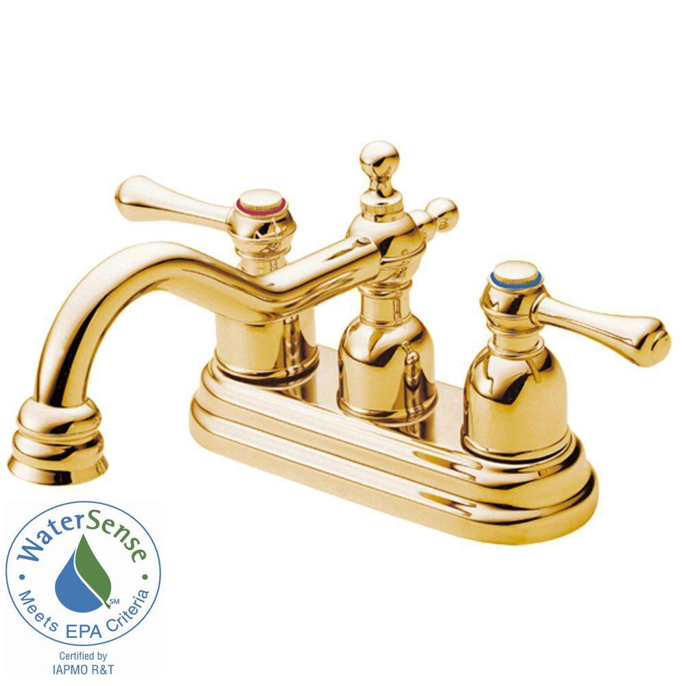 Danze Opulence 4 in. 2-Handle Bathroom Faucet in Polished Brass