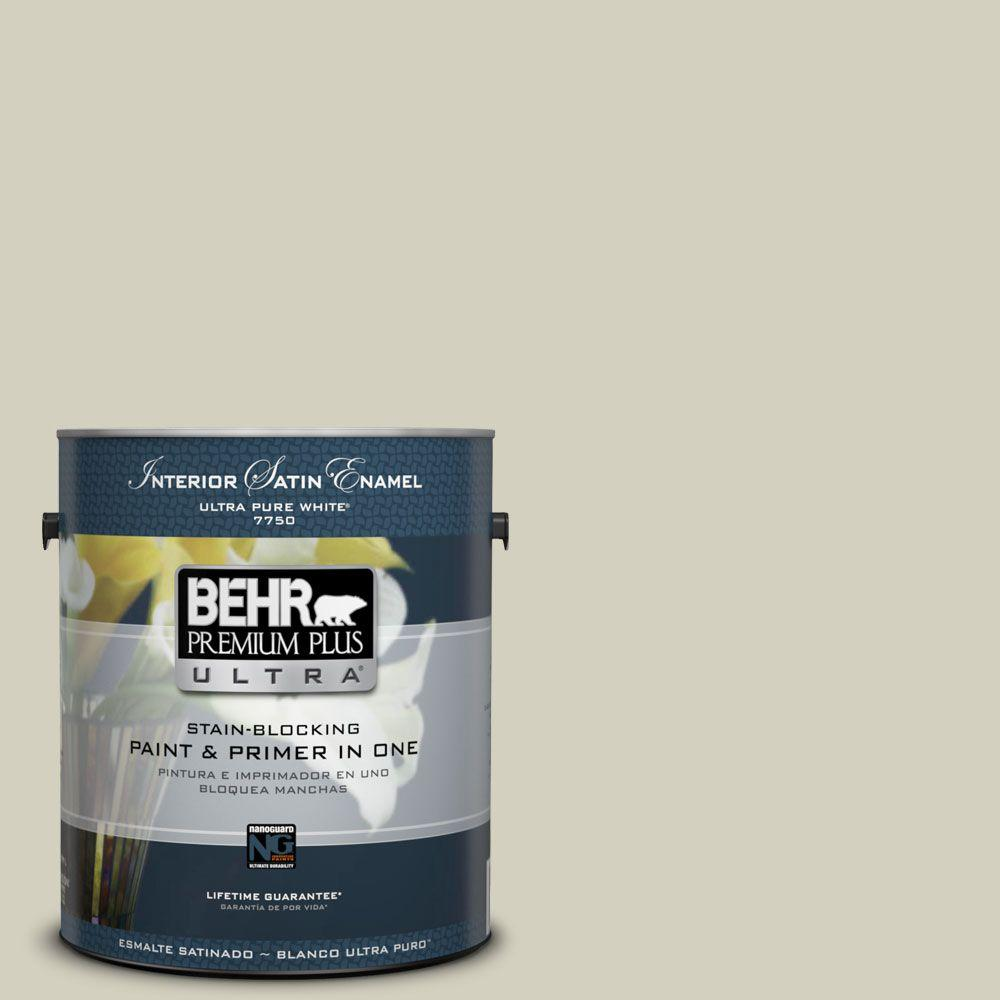 BEHR Premium Plus Ultra 1-gal. #ppf-14 Traditional Tan Satin Enamel Interior Paint, Ppf-14 Traditional Tan Satin