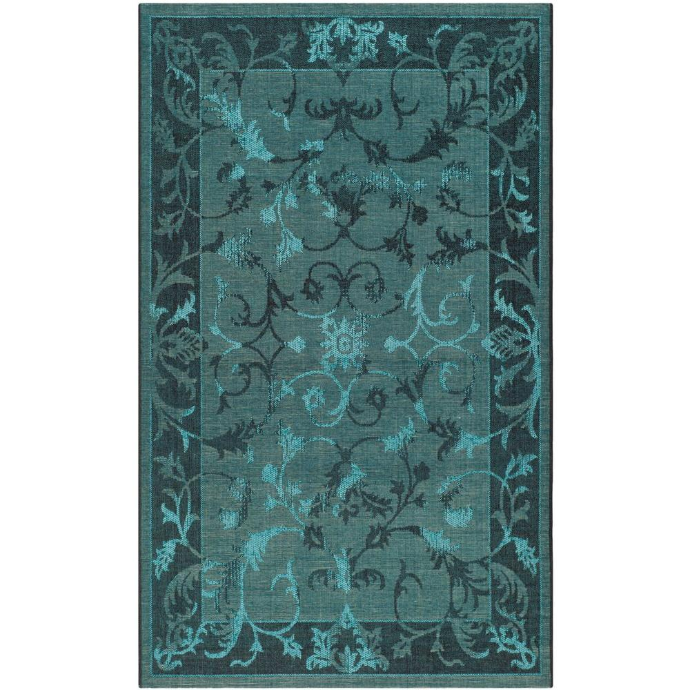 Safavieh Palazzo Black/Turquoise 8 ft. x 11 ft. Area Rug-PAL127-56C4-8 -