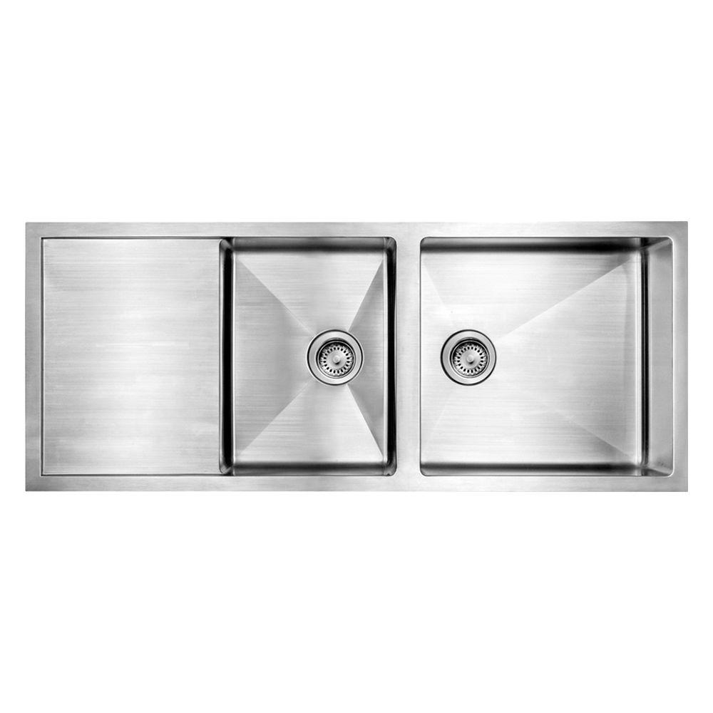 Whitehaus Collection Noah's Collection Undermount Brushed Stainless Steel 51-1/2 in. 0-Hole Double Basin Kitchen Sink