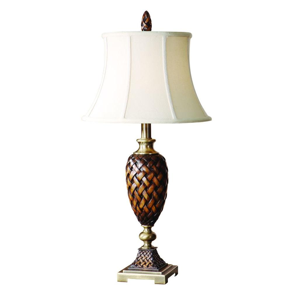 null 33 in. Weather Wood Table Lamp