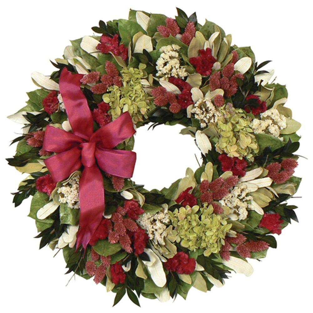 The Christmas Tree Company Ravishing with Raspberry 18 in. Dried Floral Wreath-DISCONTINUED
