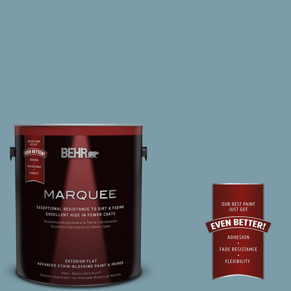 BEHR MARQUEE 1-gal. #S470-4 Dolphin Blue Flat Exterior Paint-445401 - The