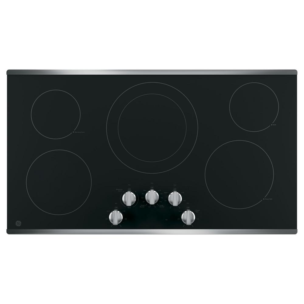 36 in. 5 Element Electric Cooktop Built-in Knob Control in Stainless