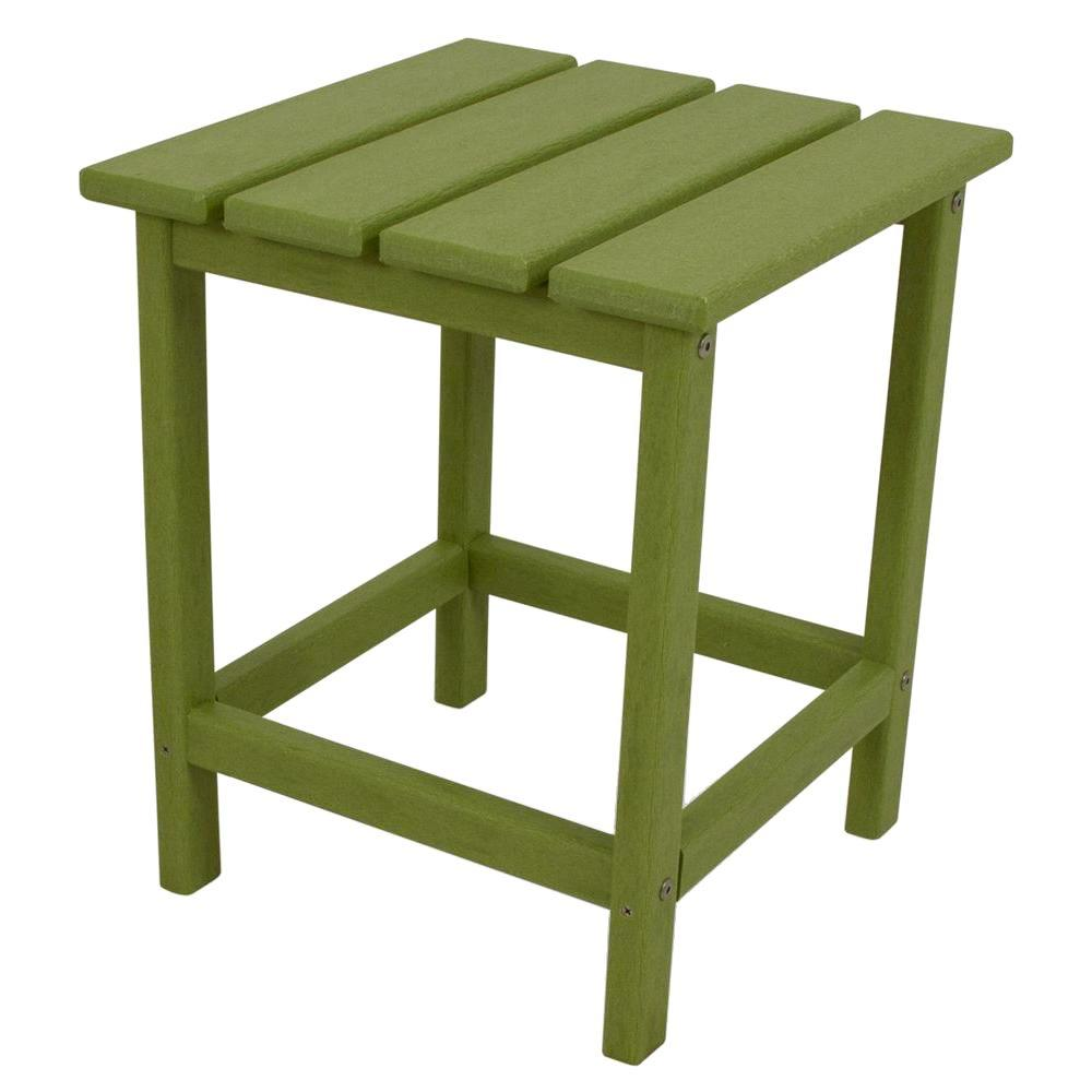 POLYWOOD Long Island 18 in. Lime Patio Side Table