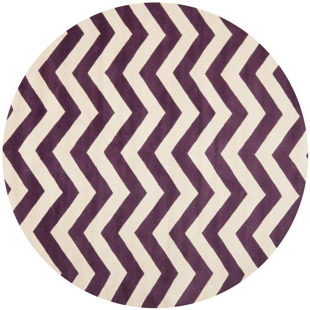 Chatham Purple/Ivory 7 ft. x 7 ft. Round Area Rug