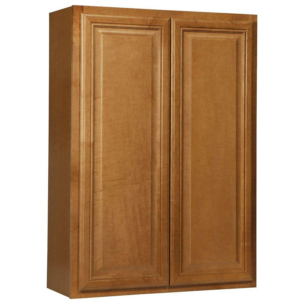 Hampton Bay Assembled 30x42x12 in. Cambria Wall Cabinet in Harvest-KW3042-CHR -