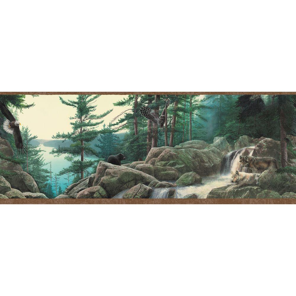 The Wallpaper Company 10.25 in. x 15 ft. Earth Tone Wildlife Nature Border