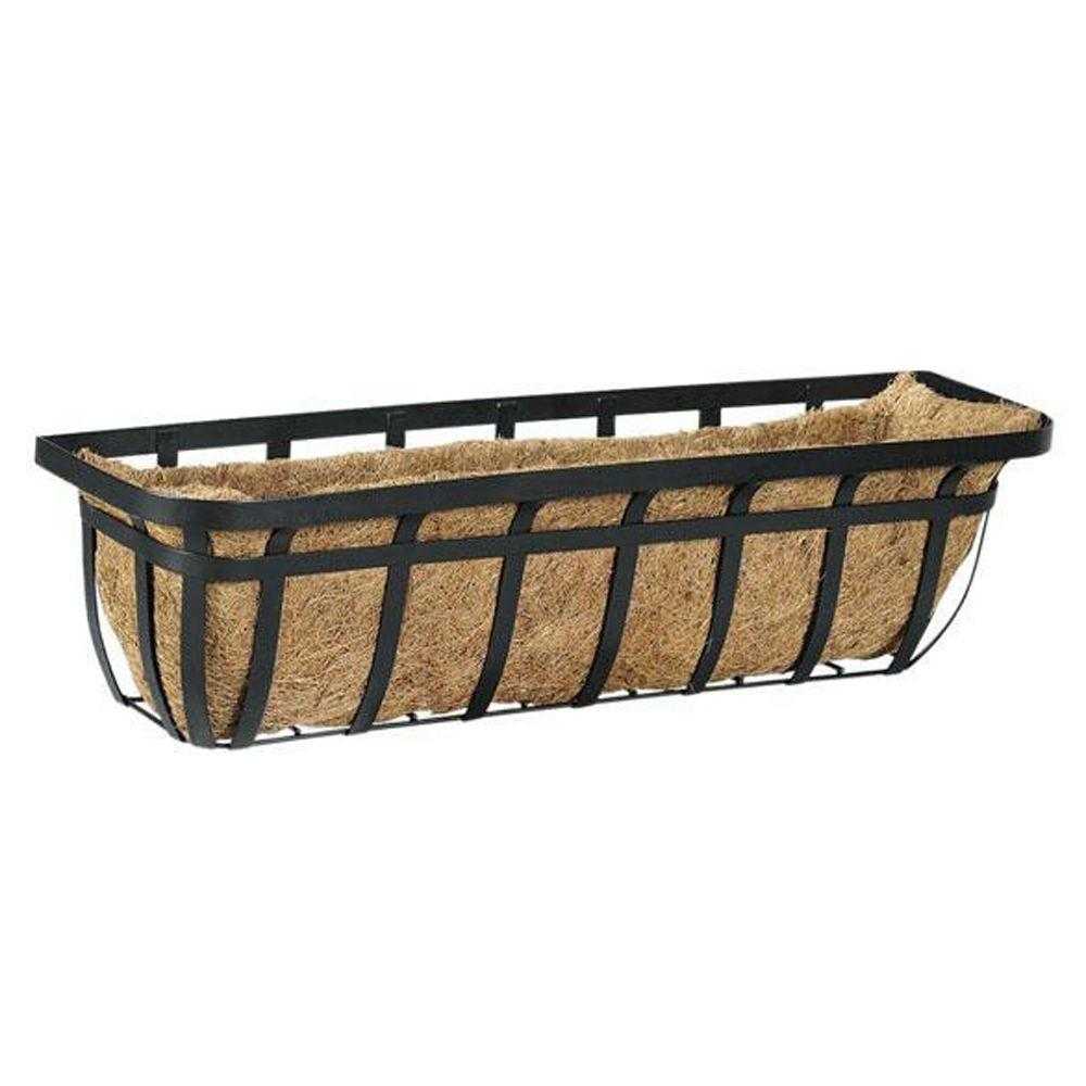 Home Decorators Collection Garden Accents 30 in. W Black Flat Iron Window Planter-DISCONTINUED