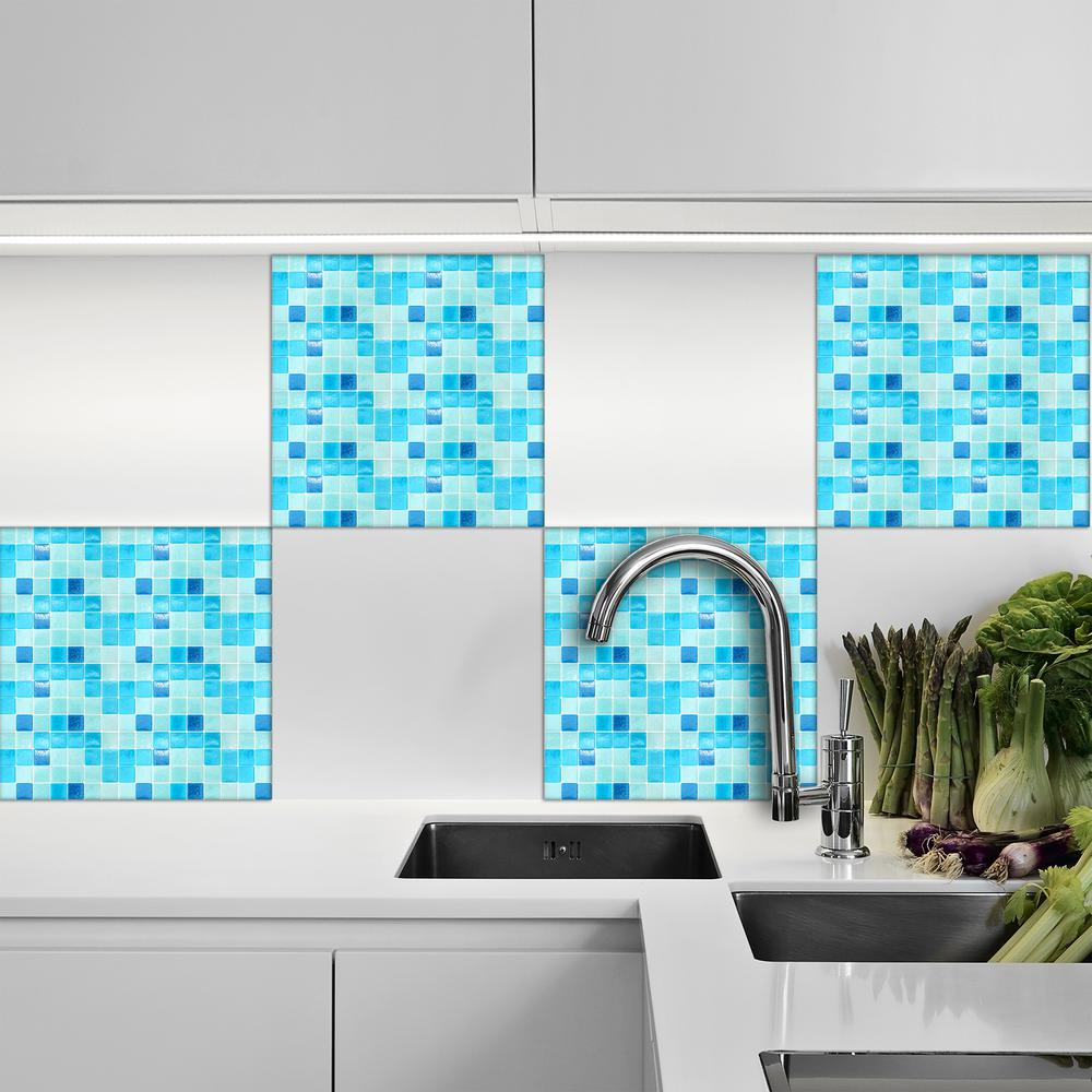 15.8 in. x 7-9/10 in. Mosaic Light Blue Peel and Stick