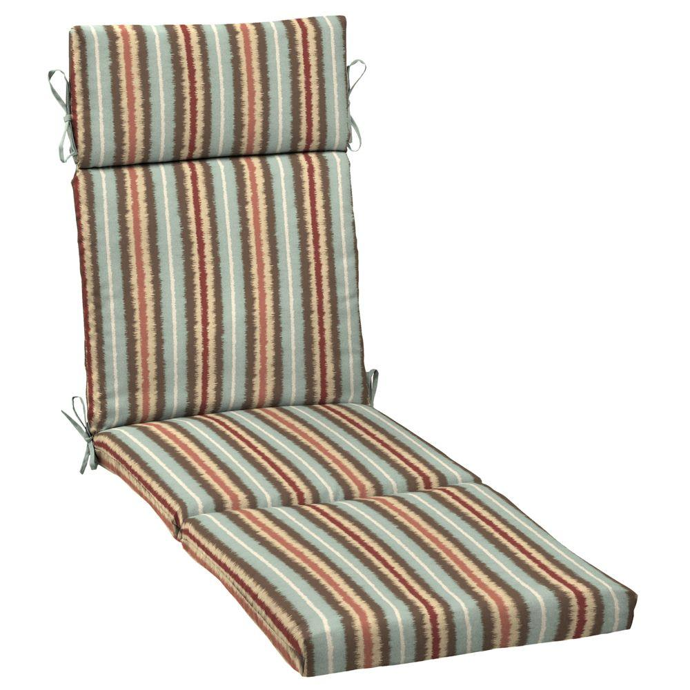 Hampton Bay Elaine Ikat Stripe Outdoor Chaise Cushion-JE09853B-9D2 - The Home