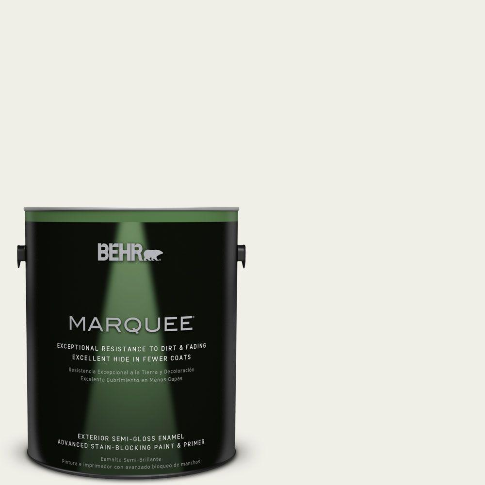 BEHR MARQUEE 1-gal. #W-F-710 Hushed White Semi-Gloss Enamel Exterior