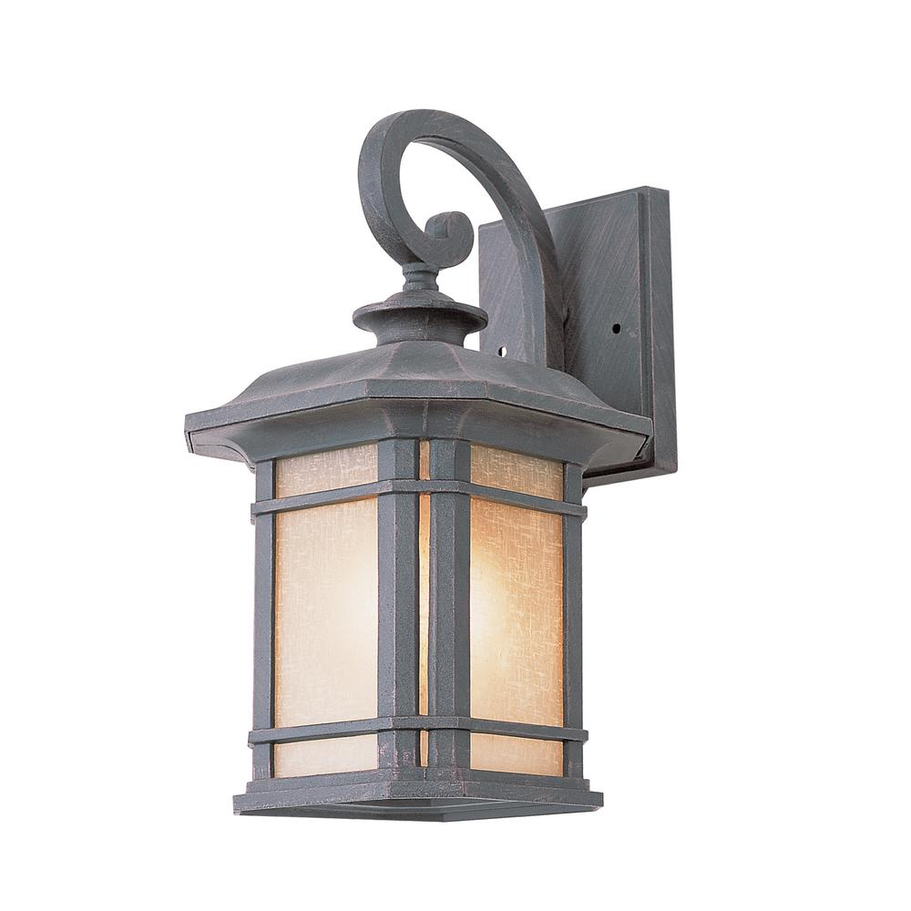 Outdoor Wall Light Stained Glass : Bel Air Lighting 1-Light Rust Outdoor Wall Lantern with Tea Stained Glass-5821 RT - The Home Depot