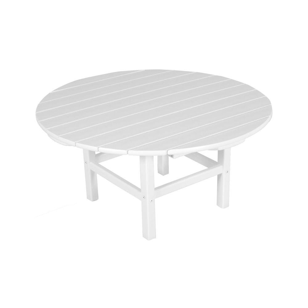 polywood white 38 in round patio conversation table rct38wh the home depot. Black Bedroom Furniture Sets. Home Design Ideas