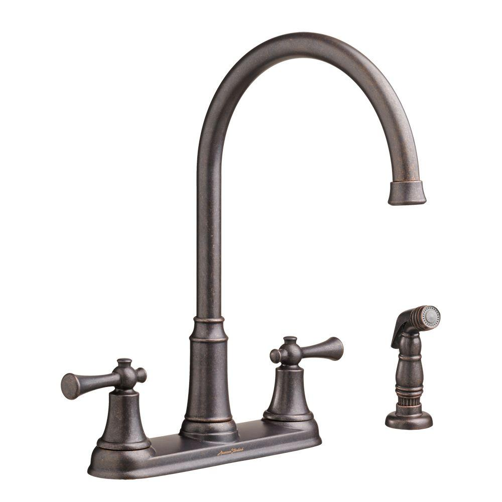 Portsmouth High-Arc 2-Handle Standard Kitchen Faucet with Side Sprayer in Oil