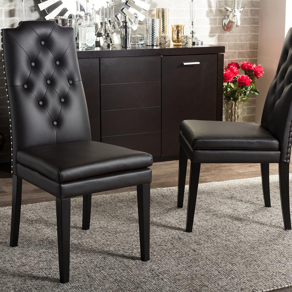 Dylin Brown Faux Leather Upholstered Dining Chairs (Set of 2)